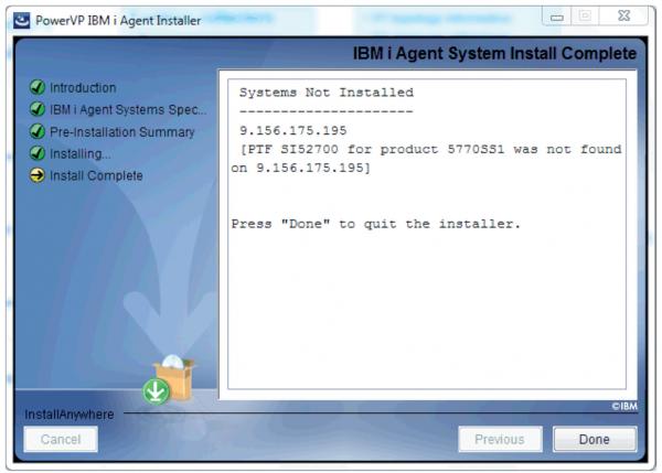 Abbildung 5: Fehlermeldung wegen fehlendem PTF auf IBM i